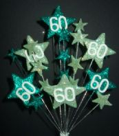 Star age 60th birthday cake topper decoration in shades of green - free postage
